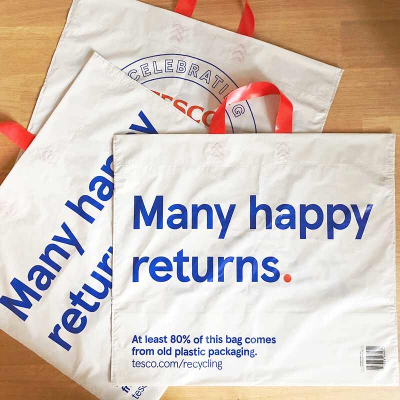 In the bag: congratulations and recycling meet in our line for Tesco's centenary carrier bags.